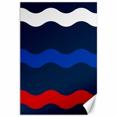 Wave Line Waves Blue White Red Flag Canvas 12  X 18