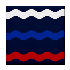 Wave Line Waves Blue White Red Flag Face Towel by Alisyart