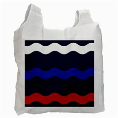 Wave Line Waves Blue White Red Flag Recycle Bag (one Side)