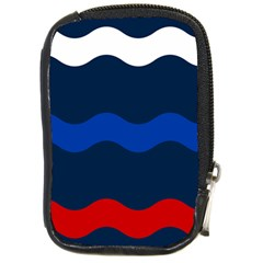 Wave Line Waves Blue White Red Flag Compact Camera Cases by Alisyart