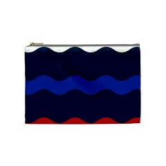 Wave Line Waves Blue White Red Flag Cosmetic Bag (medium)