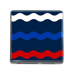 Wave Line Waves Blue White Red Flag Memory Card Reader (square) by Alisyart
