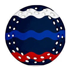 Wave Line Waves Blue White Red Flag Ornament (round Filigree)