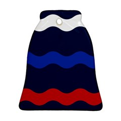 Wave Line Waves Blue White Red Flag Bell Ornament (two Sides) by Alisyart