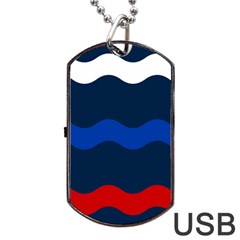 Wave Line Waves Blue White Red Flag Dog Tag Usb Flash (one Side)