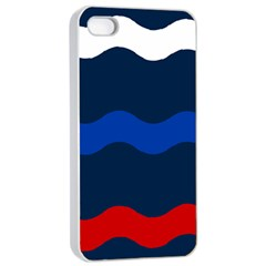 Wave Line Waves Blue White Red Flag Apple Iphone 4/4s Seamless Case (white)