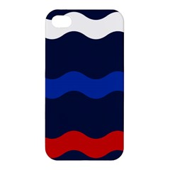 Wave Line Waves Blue White Red Flag Apple Iphone 4/4s Premium Hardshell Case by Alisyart