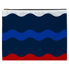 Wave Line Waves Blue White Red Flag Cosmetic Bag (xxxl)