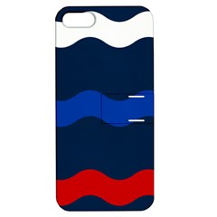 Wave Line Waves Blue White Red Flag Apple Iphone 5 Hardshell Case With Stand