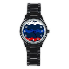 Wave Line Waves Blue White Red Flag Stainless Steel Round Watch by Alisyart