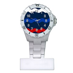 Wave Line Waves Blue White Red Flag Plastic Nurses Watch