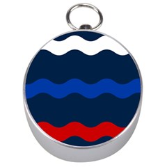 Wave Line Waves Blue White Red Flag Silver Compasses