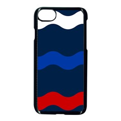 Wave Line Waves Blue White Red Flag Apple Iphone 7 Seamless Case (black) by Alisyart