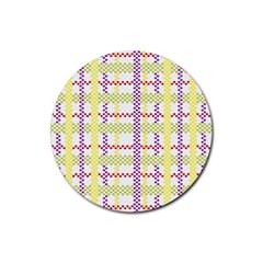 Webbing Plaid Color Rubber Coaster (round)  by Alisyart