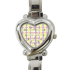 Webbing Plaid Color Heart Italian Charm Watch