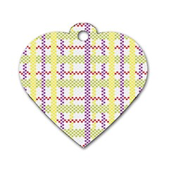 Webbing Plaid Color Dog Tag Heart (one Side)