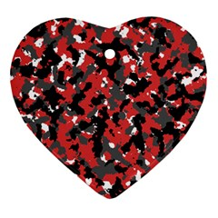 Spot Camuflase Red Black Ornament (heart) by Alisyart