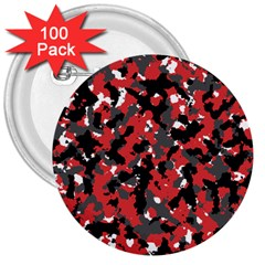 Spot Camuflase Red Black 3  Buttons (100 Pack)  by Alisyart
