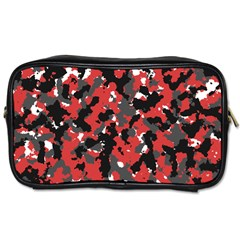 Spot Camuflase Red Black Toiletries Bags 2 Side
