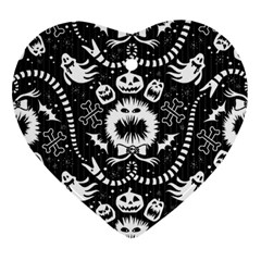 Wrapping Paper Nightmare Monster Sinister Helloween Ghost Ornament (heart) by Alisyart