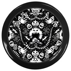 Wrapping Paper Nightmare Monster Sinister Helloween Ghost Wall Clocks (black) by Alisyart