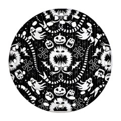 Wrapping Paper Nightmare Monster Sinister Helloween Ghost Round Filigree Ornament (two Sides)