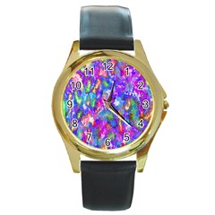 Abstract Trippy Bright Sky Space Round Gold Metal Watch