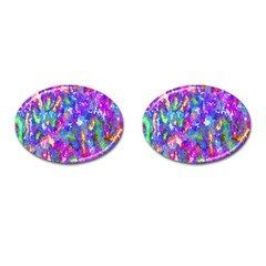 Abstract Trippy Bright Sky Space Cufflinks (oval) by Simbadda