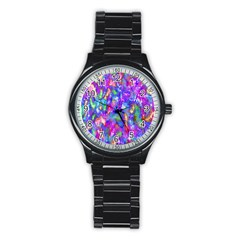 Abstract Trippy Bright Sky Space Stainless Steel Round Watch