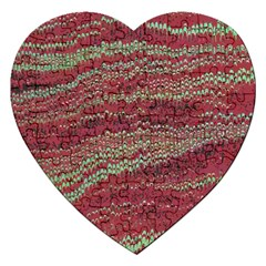 Scaly Pattern Colour Green Pink Jigsaw Puzzle (heart) by Alisyart