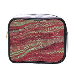 Scaly Pattern Colour Green Pink Mini Toiletries Bags by Alisyart