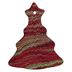 Scaly Pattern Colour Green Pink Christmas Tree Ornament (two Sides)