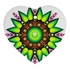 Design Elements Star Flower Floral Circle Ornament (heart)