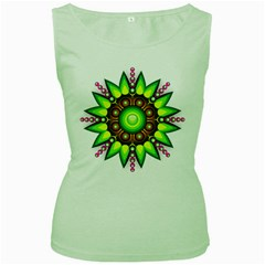 Design Elements Star Flower Floral Circle Women s Green Tank Top by Alisyart