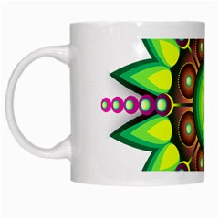 Design Elements Star Flower Floral Circle White Mugs