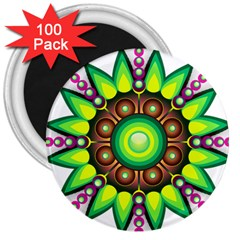 Design Elements Star Flower Floral Circle 3  Magnets (100 Pack) by Alisyart
