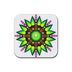 Design Elements Star Flower Floral Circle Rubber Square Coaster (4 Pack)