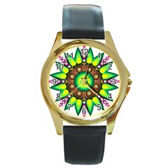 Design Elements Star Flower Floral Circle Round Gold Metal Watch by Alisyart