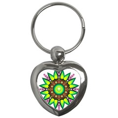 Design Elements Star Flower Floral Circle Key Chains (heart)  by Alisyart