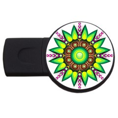 Design Elements Star Flower Floral Circle Usb Flash Drive Round (2 Gb)
