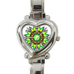 Design Elements Star Flower Floral Circle Heart Italian Charm Watch by Alisyart