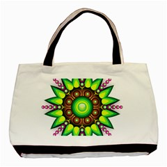 Design Elements Star Flower Floral Circle Basic Tote Bag by Alisyart