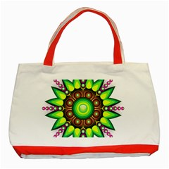 Design Elements Star Flower Floral Circle Classic Tote Bag (red) by Alisyart
