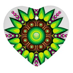 Design Elements Star Flower Floral Circle Heart Ornament (two Sides) by Alisyart