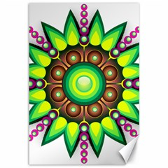 Design Elements Star Flower Floral Circle Canvas 12  X 18   by Alisyart
