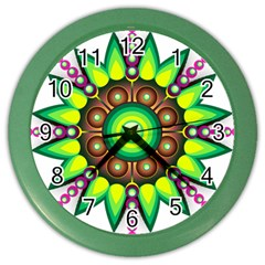 Design Elements Star Flower Floral Circle Color Wall Clocks by Alisyart