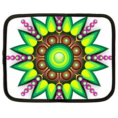 Design Elements Star Flower Floral Circle Netbook Case (large) by Alisyart