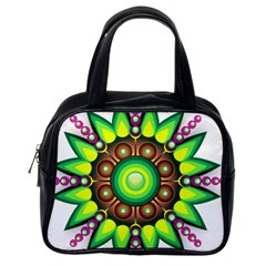 Design Elements Star Flower Floral Circle Classic Handbags (one Side)