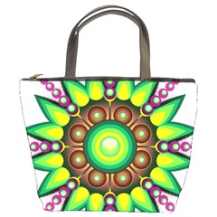 Design Elements Star Flower Floral Circle Bucket Bags by Alisyart