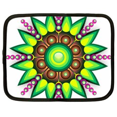 Design Elements Star Flower Floral Circle Netbook Case (xl)  by Alisyart